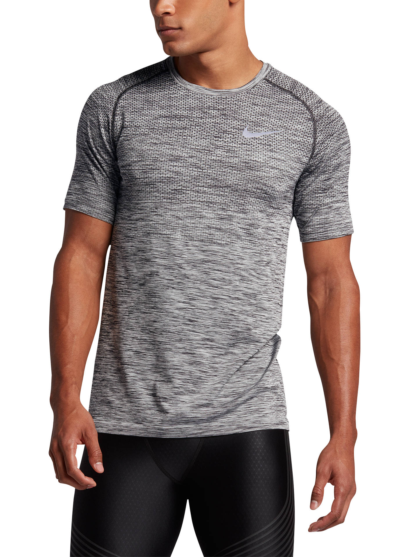 multiple colors genuine shoes united states Nike Dri-FIT Knit Short Sleeve Running T-Shirt, Black/Silver ...