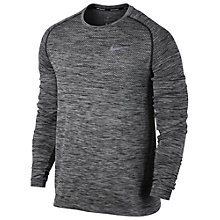 Buy Nike Dri-FIT Knit Long Sleeve Running Top, Black Heather Online at johnlewis.com