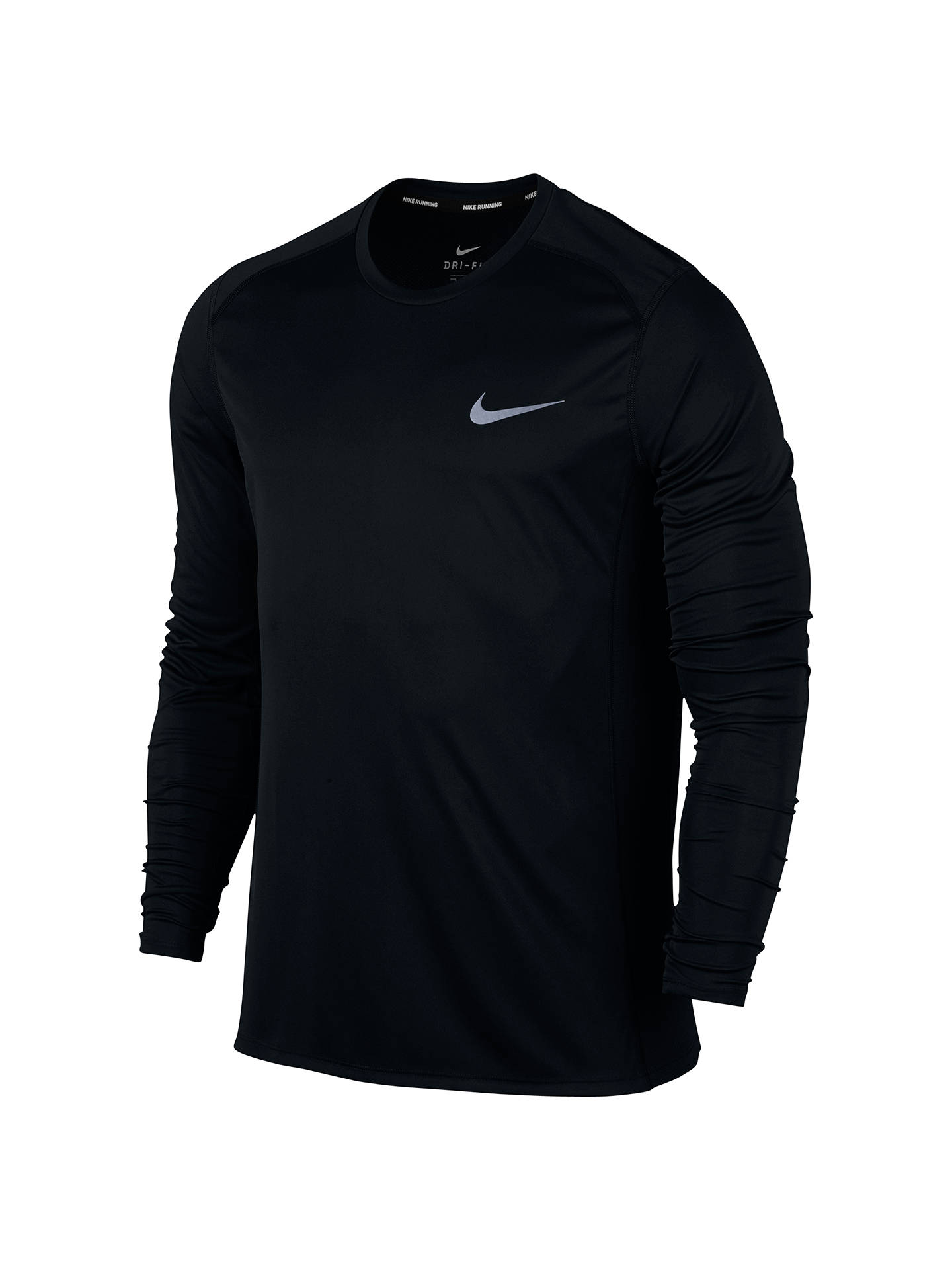 4308e2247dbe3 Buy Nike Dry Miler Long Sleeve Running Top, Black, S Online at johnlewis.