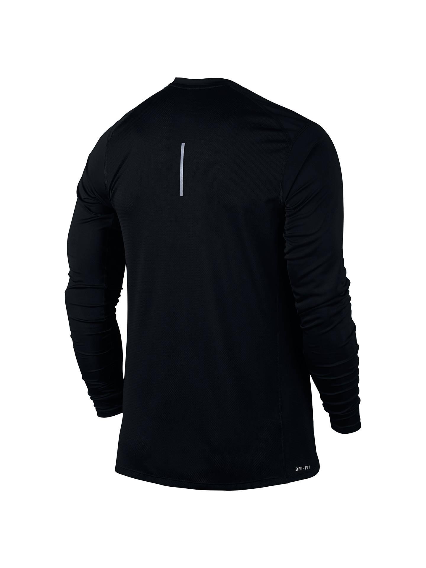 614fc13a0 Buy Nike Dry Miler Long Sleeve Running Top, Black, S Online at johnlewis.