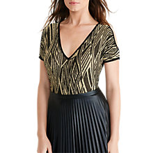 Buy Lauren Ralph Lauren Jaden V-Neck Top, Black/Gold Online at johnlewis.com