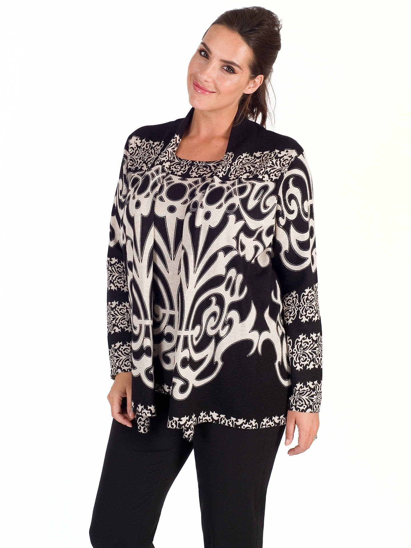 BuyChesca Abstract Print Jumper, Black/Beige, S-M Online at johnlewis.com