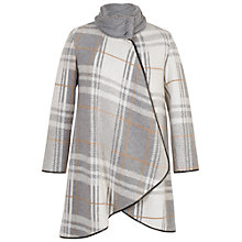 Buy Chesca Check Cable Knit Collar Coat, Grey/Ivory Online at johnlewis.com
