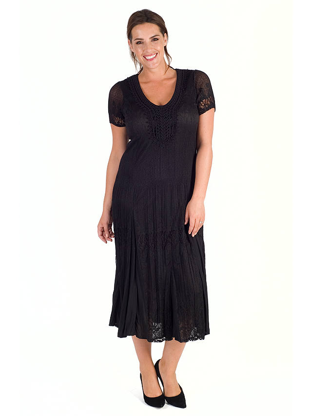 Buy Chesca Border Lace Crush Pleat Dress, Black, 12-14 Online at johnlewis.com