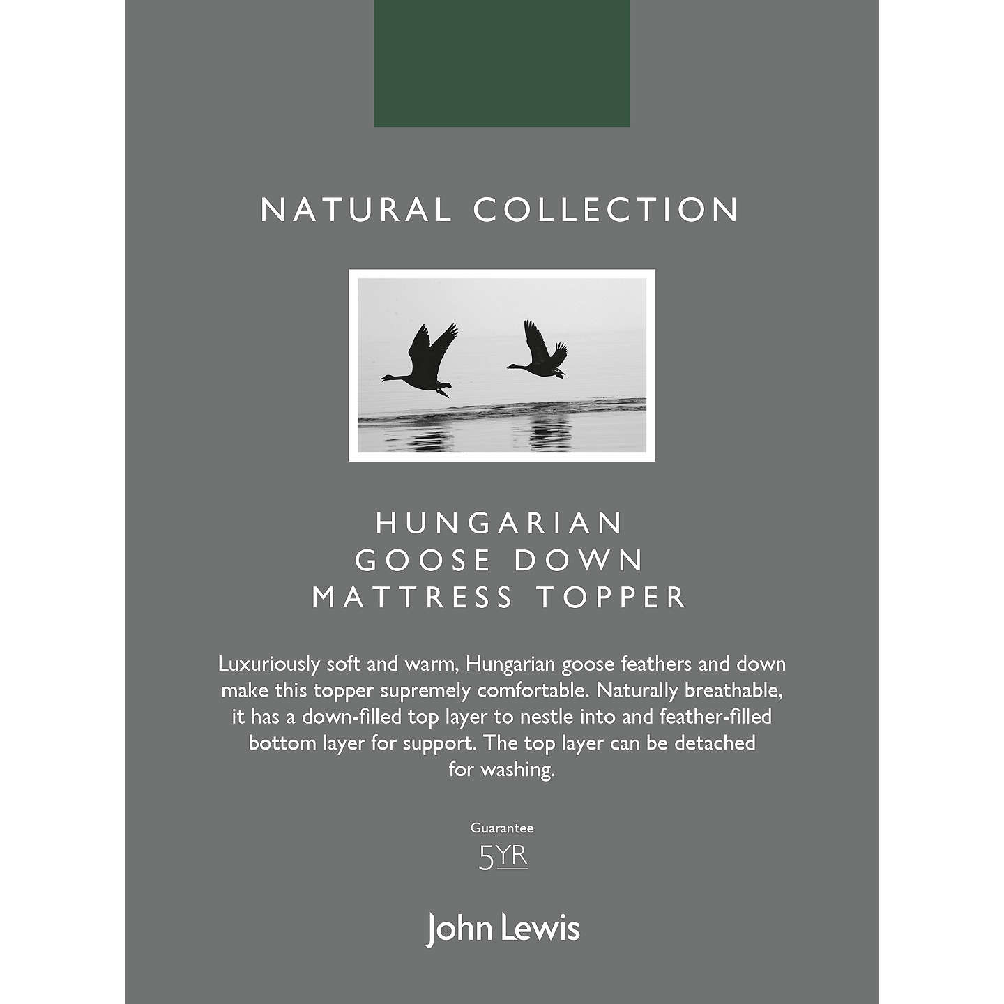 BuyJohn Lewis Natural Collection Hungarian Goose Down Mattress Topper, Single Online at johnlewis.com