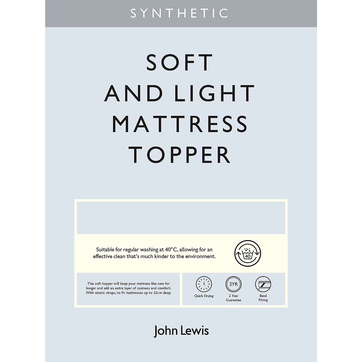 Buy John Lewis Synthetic Soft and Light Mattress Topper