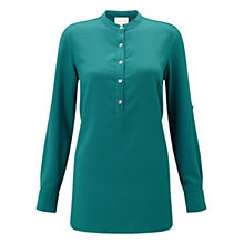 Buy East Crepe Round Neck Shirt, Teal Online at johnlewis.com