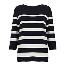 Buy Gerry Weber 3/4 Sleeve Stripe Jumper, Navy/White Online at johnlewis.com