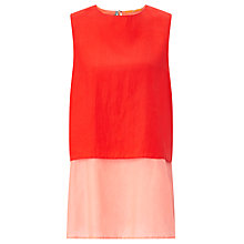 Buy BOSS Orange Civille Double Layer Silk Top, Bright Red Online at johnlewis.com