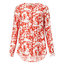 Buy BOSS Orange Eflo Floral Print Blouse, Bright Red Online at johnlewis.com