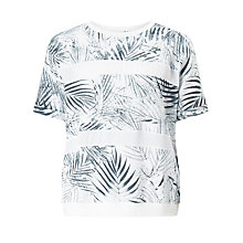 Buy BOSS Orange Tabloom Palm Print Sweatshirt, White Online at johnlewis.com