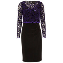 Buy Gina Bacconi Dress With Lace Overtop, Aubergine Online at johnlewis.com