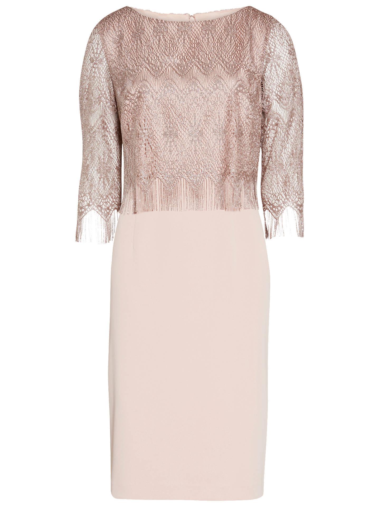 52ed4e08879a BuyGina Bacconi Metallic Vintage Fringe Dress, Stone, 10 Online at  johnlewis.com ...
