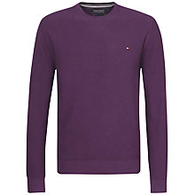 Buy Tommy Hilfiger Twisted Cotton Crew Neck Jumper, Grape Purple Online at johnlewis.com