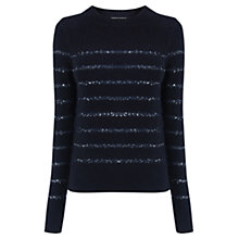 Buy Oasis Sequin Stripe Perfect Crew Neck Jumper Online at johnlewis.com
