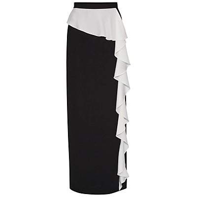 Product photo of Gina bacconi satin back crepe waterfall frill maxi skirt black ivory