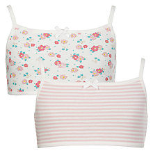 Buy John Lewis Girls' Vintage Floral and Stripe Crop Top, Pack of 2, Multi Online at johnlewis.com
