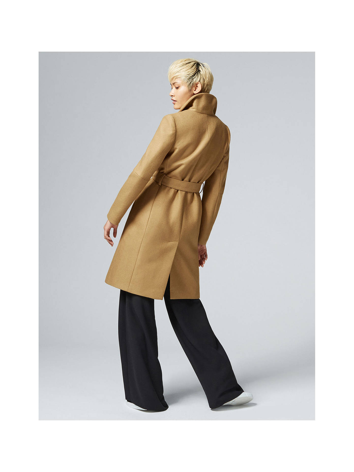 check out top-rated genuine outlet store Warehouse Clean Funnel Belted Coat, Camel at John Lewis ...