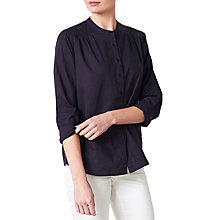 Buy Collection WEEKEND by John Lewis Collarless Shirt, Navy Online at johnlewis.com