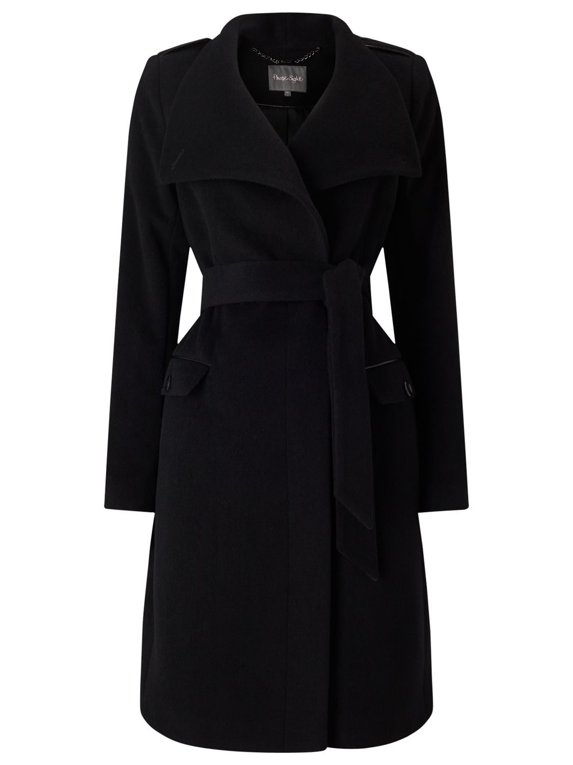 best supplier wholesale promo codes Phase Eight Donnalyn Wrap Neck Coat, Black at John Lewis ...