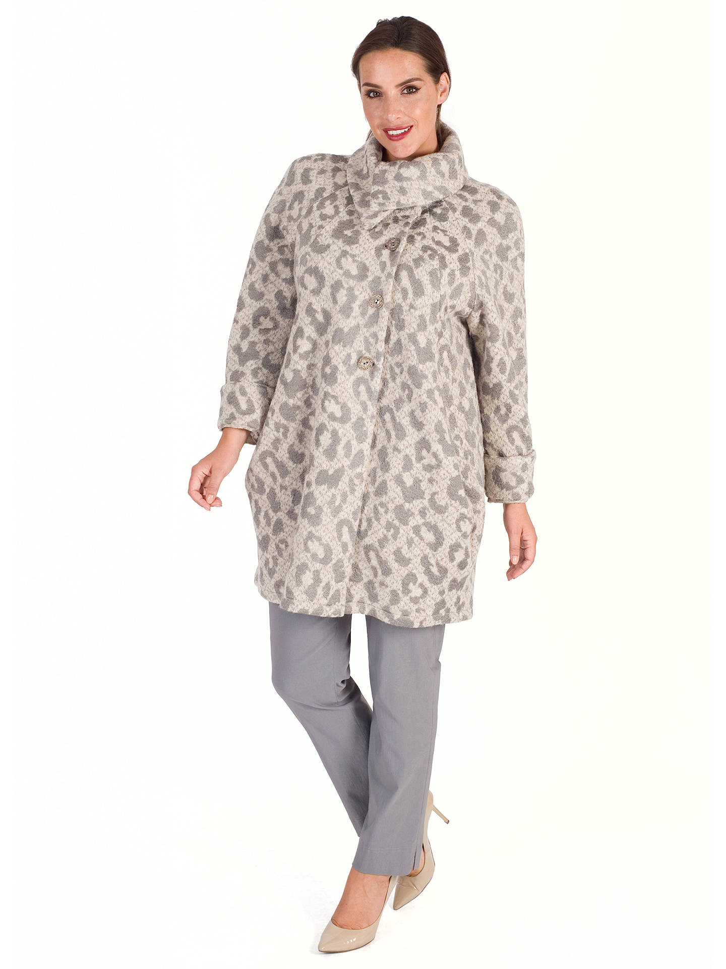 BuyChesca Animal Jacquard Coat, Beige/Grey, 24-26 Online at johnlewis.com