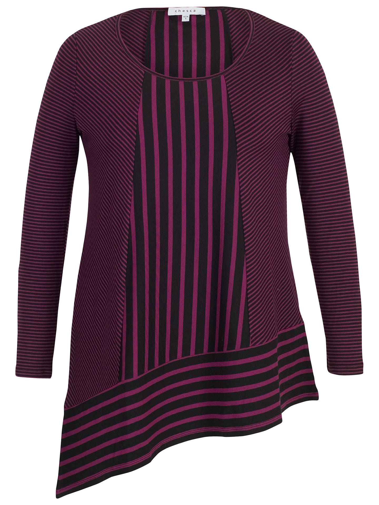 BuyChesca Double Stripe Print Tunic Top, Aubergine/Black, 12-14 Online at johnlewis.com