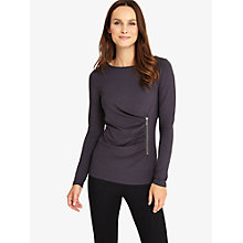 Buy Phase Eight Zoe Zip Jersey Top, Gunmetal Online at johnlewis.com
