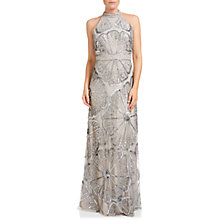 Buy Adrianna Papell Halter Turtleneck Beaded Gown, Platinum Online at johnlewis.com