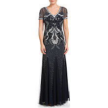 Buy Adrianna Papell Short Sleeve Beaded Gown, Navy Online at johnlewis.com