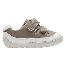 Buy Clarks Children's Tiny Boy Leather Shoes, Mushroom Online at johnlewis.com