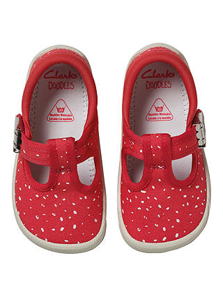 Buy Clarks Children's Doodles Choc Cake Canvas Shoes, Pink/White, 2F Jnr Online at johnlewis.com