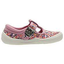 Buy Clarks Children's Briley Bow Floral Canvas Shoes, Pink/Multi Online at johnlewis.com