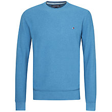 Buy Tommy Hilfiger Combed Cotton Crew Neck Jumper, Blue Online at johnlewis.com