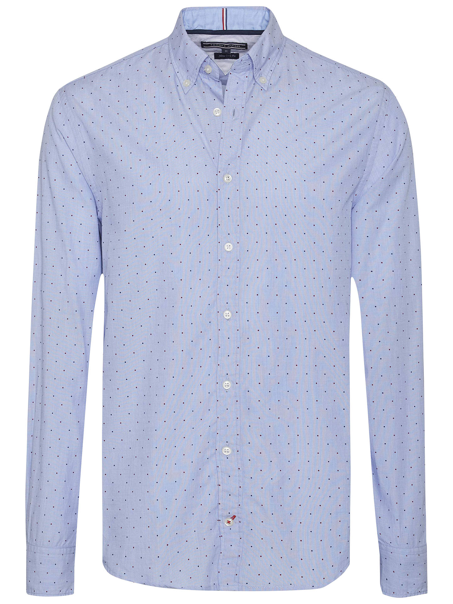 new arrivals classic nice shoes Tommy Hilfiger Dot Print Cotton Poplin Fitted Shirt, Blue ...