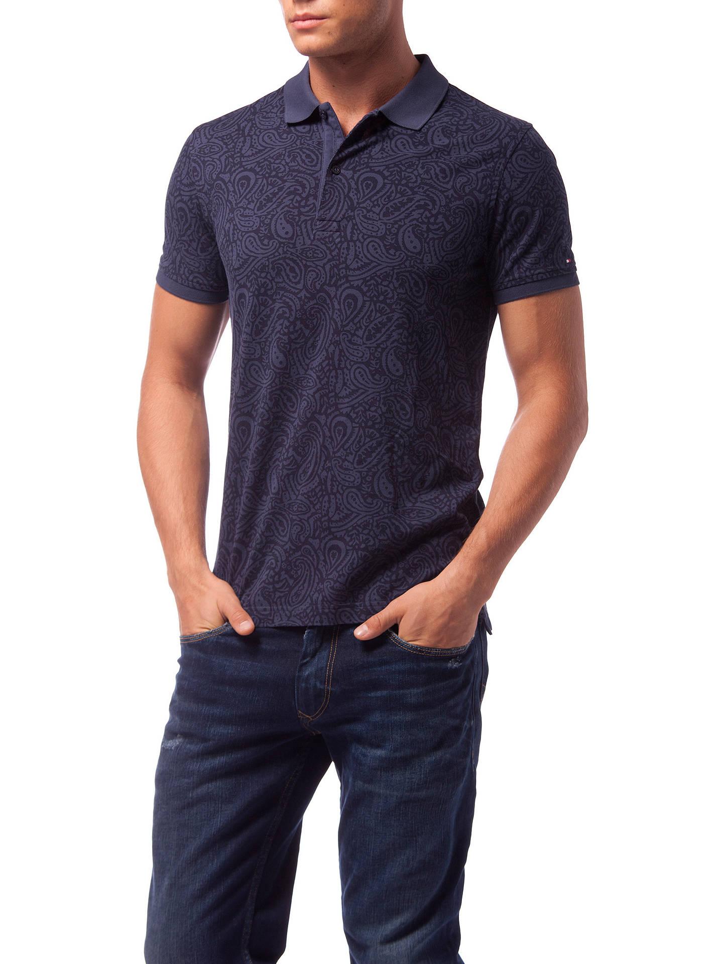 6f0c6c8e Buy Tommy Hilfiger Alan Paisley Print Slim Polo Shirt, Navy, M Online at  johnlewis ...
