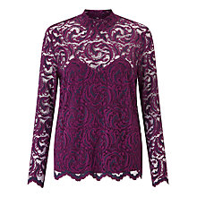 Buy Samsoe & Samsoe Alia Lace Top, Dark Purple Online at johnlewis.com