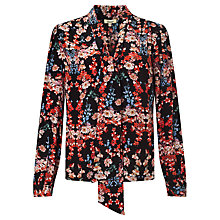 Buy Somerset by Alice Temperley Peony Tie Neck Shirt, Black Online at johnlewis.com