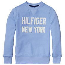Buy Tommy Hilfiger Boys' Towelling Crew Neck Sweatshirt, Blue Online at johnlewis.com