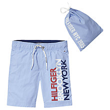 Buy Tommy Hilfiger Boys' Printed Swim Shorts, Blue Online at johnlewis.com