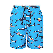 Buy John Lewis Shark Print Board Shorts, Blue Online at johnlewis.com