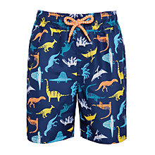 Buy John Lewis Boys' Dinosaur Board Shorts, Navy Online at johnlewis.com