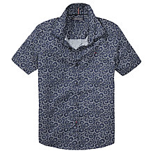 Buy Tommy Hilfiger Boys' Flower Poplin Shirt, Blue/White Online at johnlewis.com