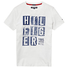 Buy Tommy Hilfiger Boys' Organic Cotton Hilfiger Print T-Shirt Online at johnlewis.com