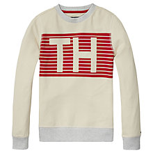 Buy Tommy Hilfiger Boys' Striped Pique Hawk Sweatshirt, Grey Online at johnlewis.com