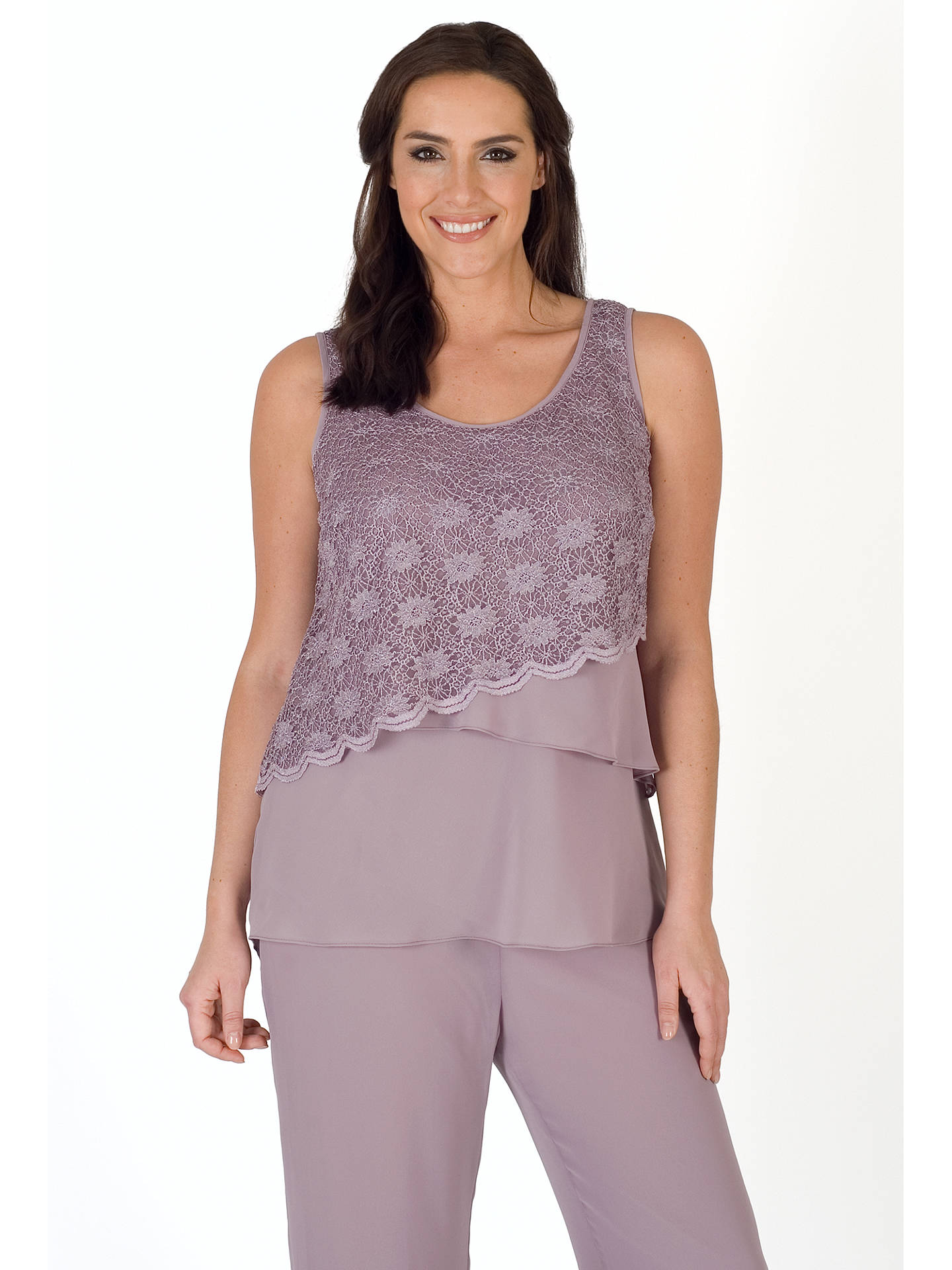 Buy Chesca Scallop Lace And Chiffon Cami, Dark Lavender, 14 Online at johnlewis.com