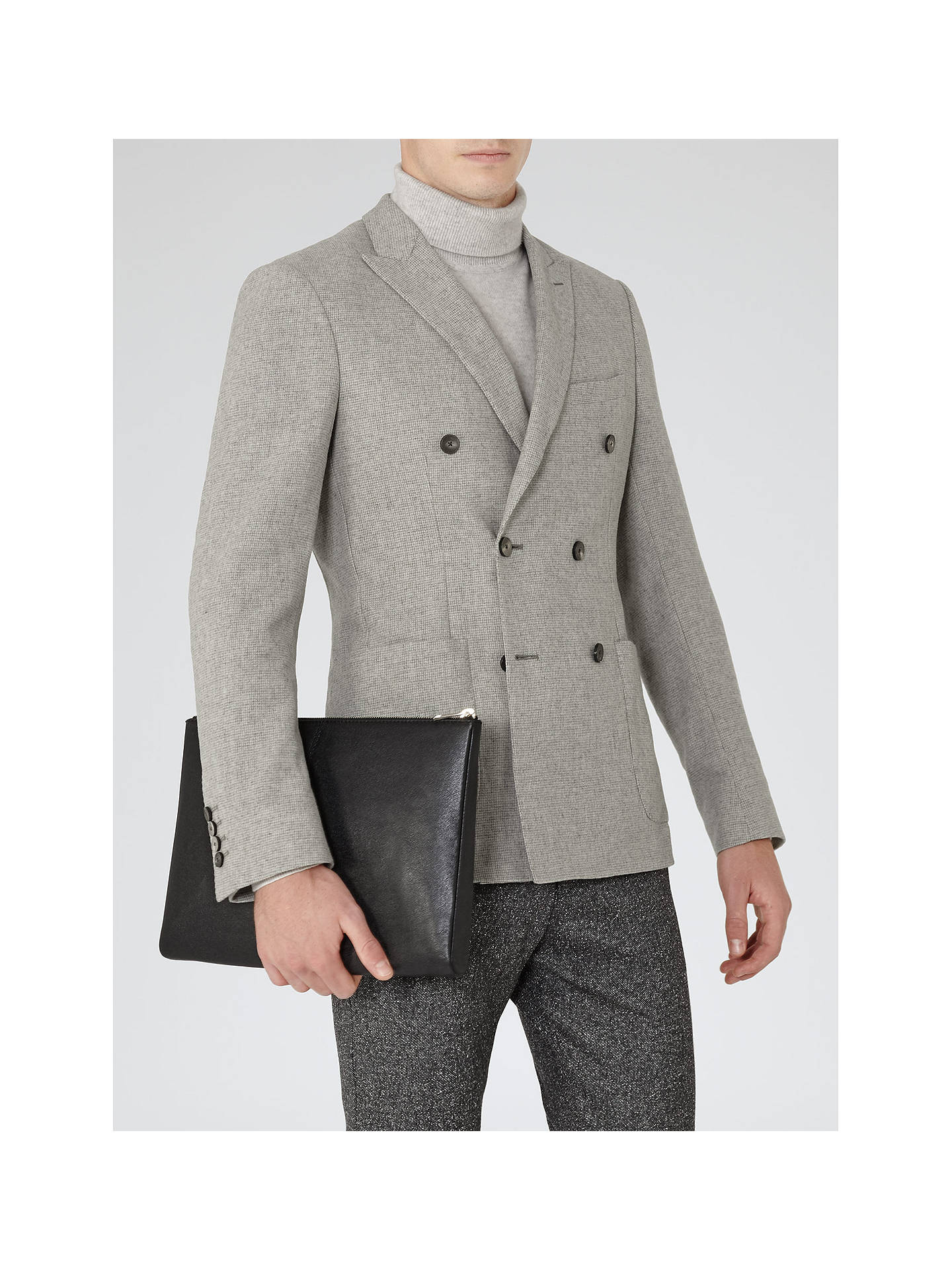 78ffd6db Reiss Carlo Double Breasted Blazer, Light Grey at John Lewis & Partners