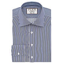 Buy Thomas Pink Grant Classic Fit XL Sleeve Stripe Shirt, Navy/White Online at johnlewis.com