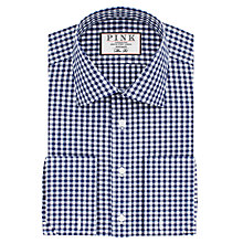 Buy Thomas Pink Summers Check Slim Fit Double Cuff XL Sleeve Shirt, Navy/White Online at johnlewis.com