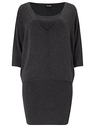 Phase Eight Carmen Double Layer Knitted Dress, Charcoal