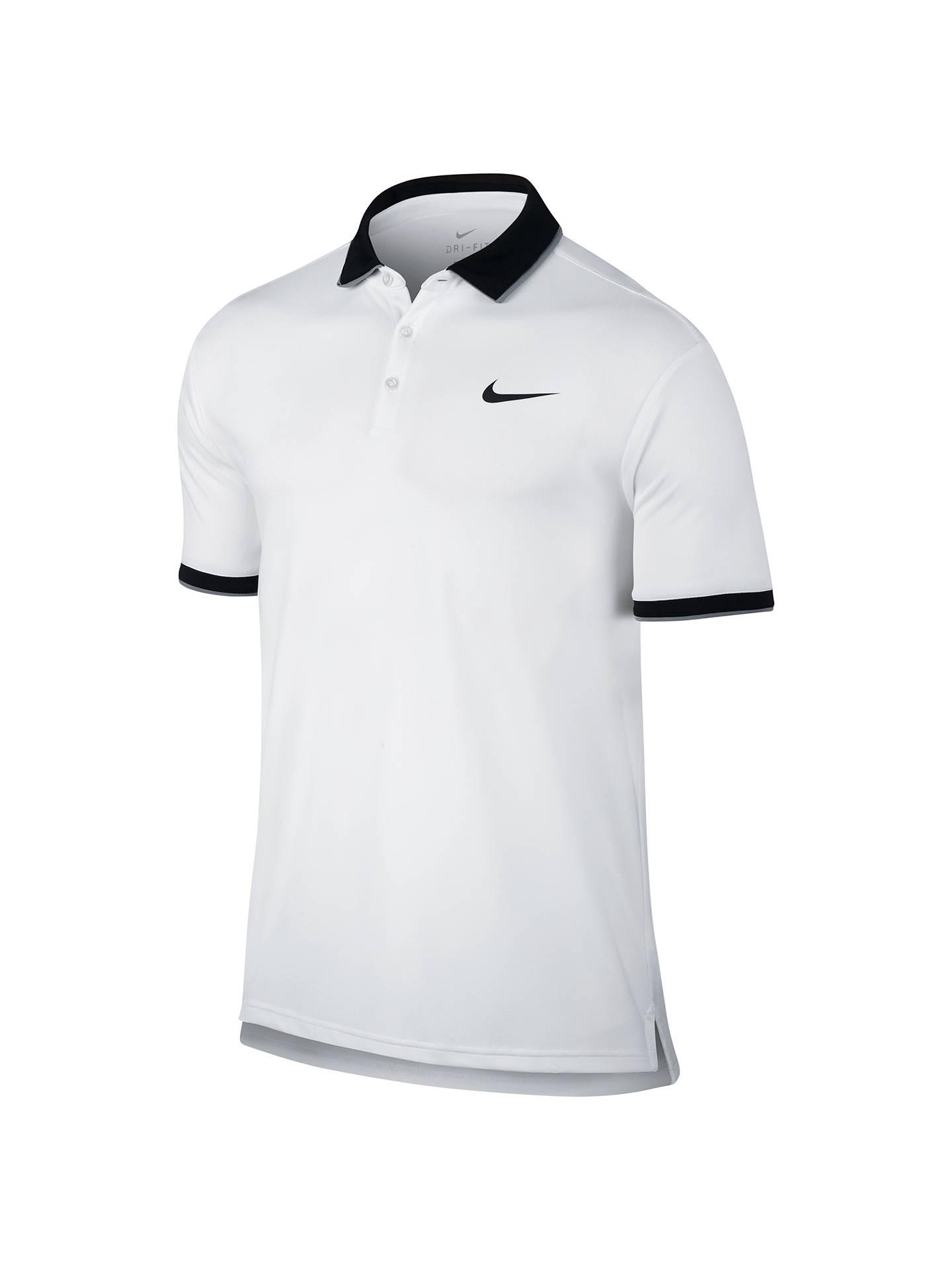 91c17939 Buy Nike Court Dry Tennis Polo Shirt, White/Black, S Online at johnlewis ...